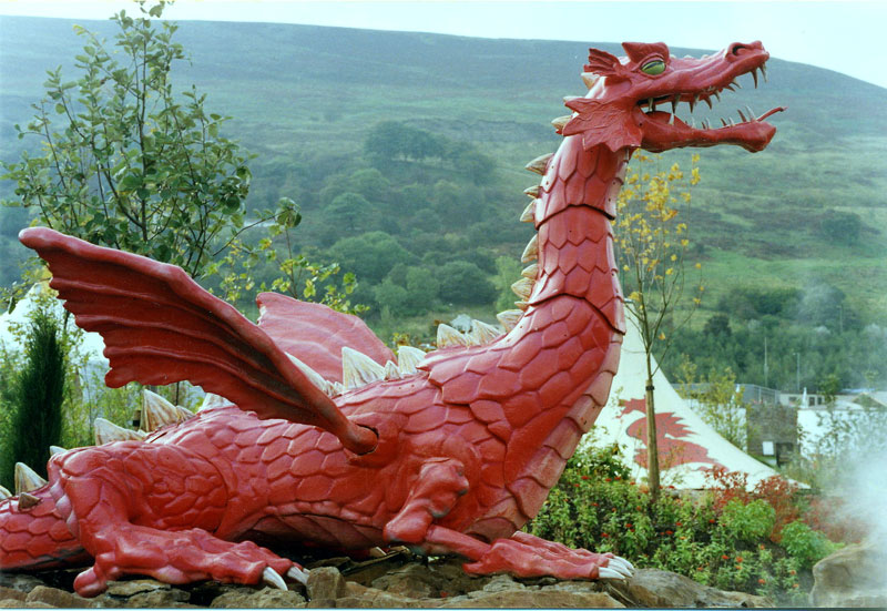Dragon sculpture at Ebbw Vale Garden Festival, 1992.